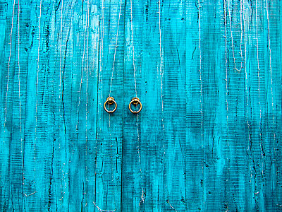 Old Blue Doors - p1100m2090785 by Mint Images
