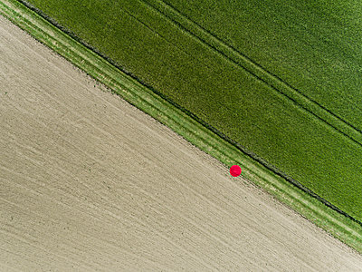 Man standing on red dot between two Fields View from drone - p590m2191520 by Philippe Dureuil