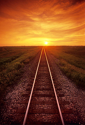 Railway and Sunset, near Winnipeg, Manitoba - p6071421 by Dave Reede