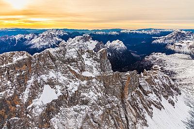 Aerial view of Monte Civetta at sunset, Ampezzo Dolomites, Veneto - p1166m2104681 by Cavan Images