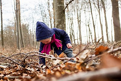 Female toddler bending forward to play with autumn leaves - p429m1106999f by Christine Schneider