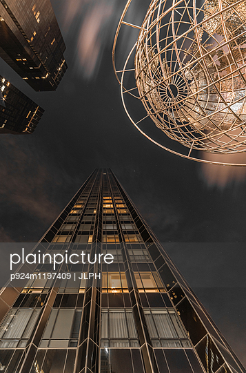 Globe sculpture near Central Park on Columbus Circle, low angle view, New York City, USA