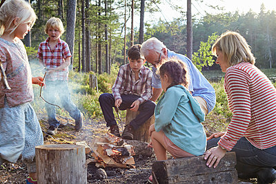 Grandparents and grandchildren enjoying campfire at lakeside - p1023m1172712 by Francis Pictures