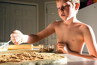 Preparing Cinnamon Buns - p1262m1191177 by Maryanne Gobble