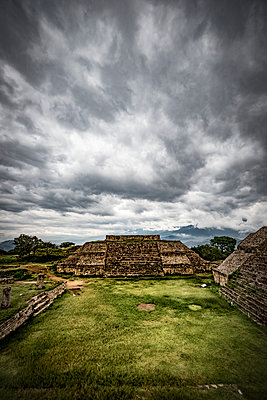 Archaeological site of Monte Alban on a morning of strong tropical storms in the state of Oaxaca south of Mexico; Monte Alban, Oaxaca, Mexico - p442m2012165 by Carlos Sanchez Pereyra