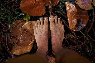 Barefeet in Puddle - p1260m1077982 by Ted Catanzaro