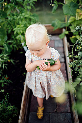 Girl in greenhouse holding cucumber - p312m1192690 by Malin Morner