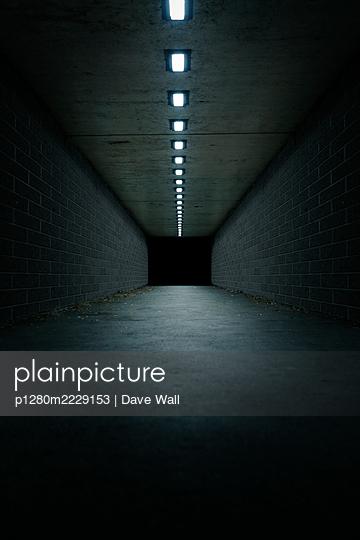 Leerer Tunnel mit Deckenbeleuchtung - p1280m2229153 von Dave Wall