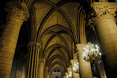 Ceiling and columns inside Notre Dame Cathedral  - p1072m829327 by Neville Mountford-Hoare
