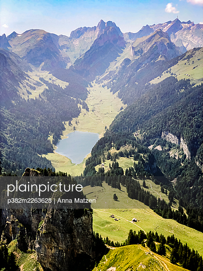 View from the Hohe Kasten towards the Sämtisersee and Säntis - p382m2263628 by Anna Matzen