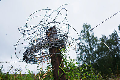 Barbed Wire Twisted Around The Rusty Pole, Smaland  - p847m1529148 by Mikael Andersson