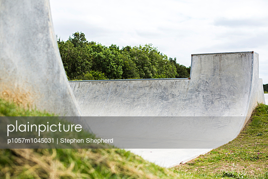 Half pipe in Skateboard Park - p1057m1045031 by Stephen Shepherd