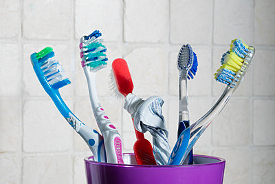 Family Bathroom tooth Brushes  - p1082m1503871 by Daniel Allan