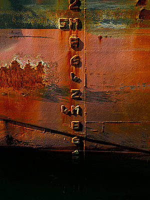 Close up of waterline marks on ship - p42916998 by Charlie Fawell