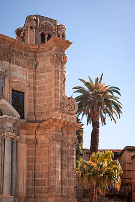 Architectural monument with palm tree - p382m2164339 by Anna Matzen