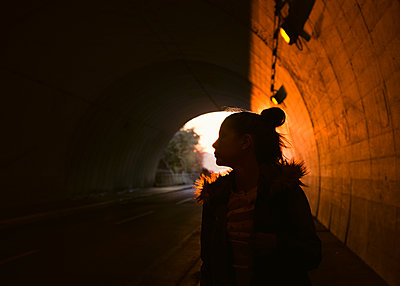 Girl in Tunnel - p1503m2020404 by Deb Schwedhelm