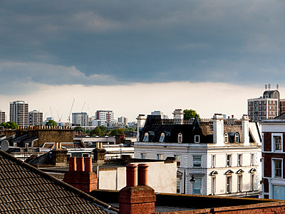 View over rooftops in East London - p388m702061 by Andre