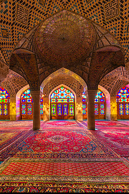 Nasir-ol-Molk Mosque (Pink Mosque), light patterns from colored stained glass illuminating the iwan, Shiraz, Fars Province, Iran, Middle East - p871m2209243 by G&M Therin-Weise