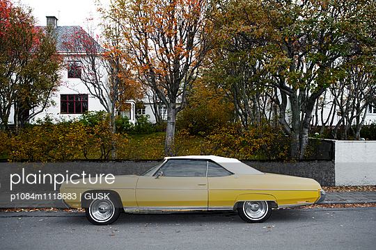 Yellow card parked in Reykjavik - p1084m1118683 by GUSK