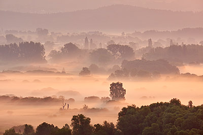 Germany, Baden-Wuerttemberg, Constance district, view to Radolfzeller Aach in the morning with fog - p300m2012499 by Markus Keller