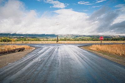 View of road against landscape at Grand Teton National Park - p1166m1547201 by Cavan Social