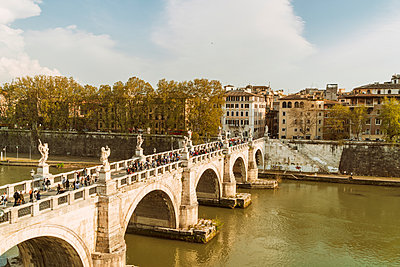 St. Angelo Bridge Ponte Sant'Angelo towards the city center - p1332m1491350 by Tamboly