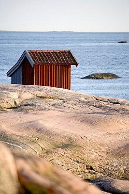A boathouse by the sea Bohuslan Sweden. - p31220201f by Henrik Trygg