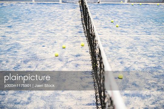 Balls on paddle tennis court