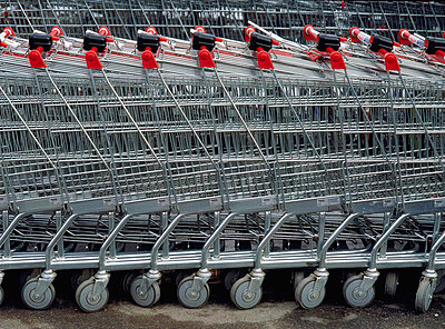 Stack Of Shopping Trolley - p8471850 by Bengt Olof Olsson