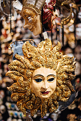 Traditional Venetian masks on display, San Marco, Venice, Veneto Province, Italy, Europe - p871m2003584 by Ben Pipe