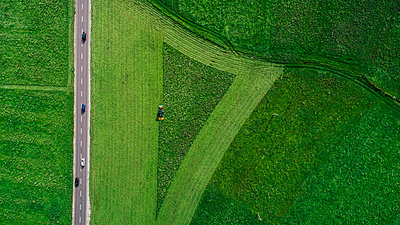 Drone point of view tractor harvesting lush green farmland crop, South Tyrol, Italy - p301m2075590 by Sven Hagolani