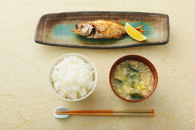 Fish On Tray With Chopstick And Boiled Rice  - p307m711862f by AFLO