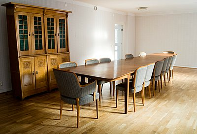 Interiors of a dining room, Sweden - p348m915649 by Inger Bladh