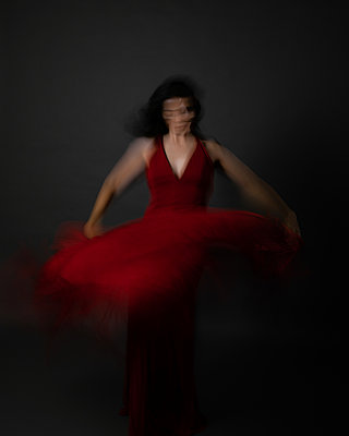 Flamenco dancer in red with scarf - p1554m2158918 by Tina Gutierrez