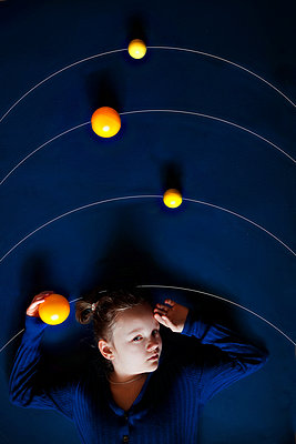 Girl and the solar system, creative staging - p1642m2222199 by V-fokuse