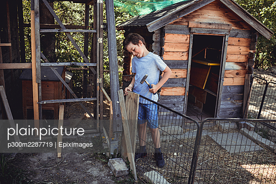 Boy hammering wood for building rabbit hutch - p300m2287719 by Epiximages