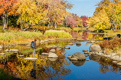 A man crosses a stream in Maine's Northern Forest. Fall. - p1166m2094314 by Cavan Images