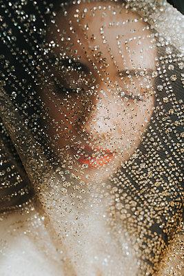 Beautiful Asian Woman Behind Glittering Transparent Veil   - p1417m2158381 by Jessica Lia
