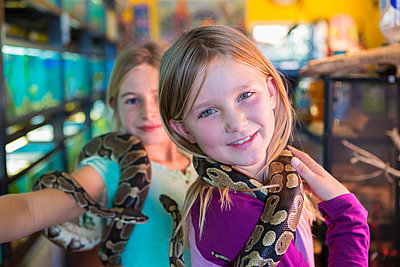 Caucasian girls playing with snakes in pet store - p555m1410494 by Marc Romanelli