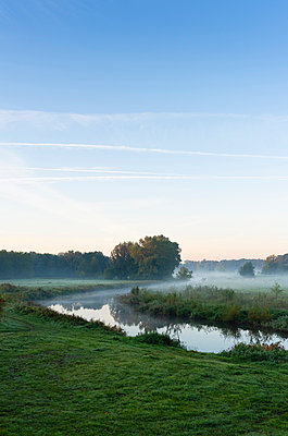 River Mark in early morning mist, Netherlands - p429m2058258 by Mischa Keijser