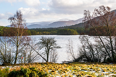 Loch an Eilein with Cairngorm Mountain behind, Aviemore, Cairngorms National Park, Scotland, United Kingdom, Europe - p871m1499851 by Matthew Williams-Ellis