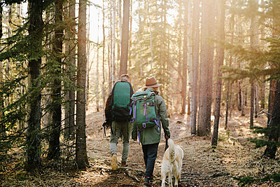 Couple with dog hiking in woods - p1192m2094031 by Hero Images