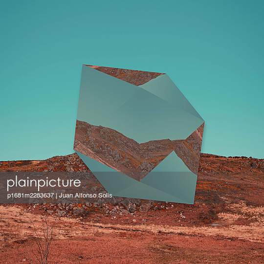 Geometric body in the countryside, collage - p1681m2283637 by Juan Alfonso Solis