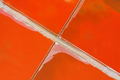 Aerial view of colorful salt lake - p1596m2192880 by Nikola Spasov