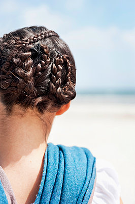 Woman with braided hair - p312m1229175 by Rebecca Wallin