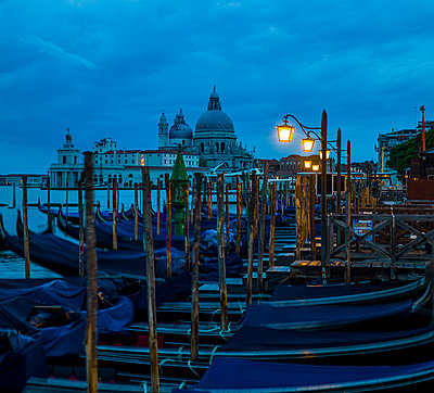 Italy, Venice, Gondolas and church Santa Maria della Salute - p300m911157f by EJW