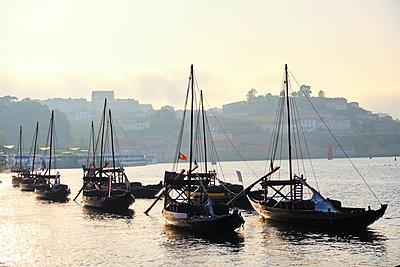 Portugal, Porto, Douro, Vila NovadeGaiaport wine boats - p300m2144219 by Michael Reusse (alt)