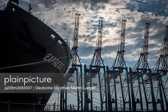Containerbrücke und Frachtschiff - p229m2093337 von Martin Langer