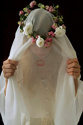 Bride behind veil - p6780011 by Christine Mathieu
