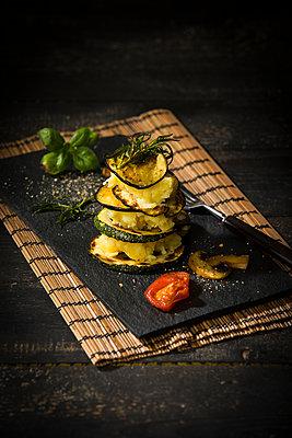 Vegan layered tower, potato mash, aubergine, zucchini and champignon - p300m2005500 by Roman Märzinger